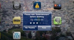 Törli az Apple az értékelést az alkalmazások törlésénél