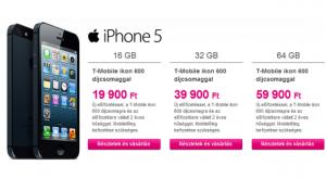 Megérkeztek a hazai T-Mobile árai az iPhone 5 készülékhez!