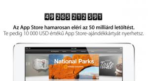 Az App Store hamarosan eléri az ötvenmilliárdodik letöltést!
