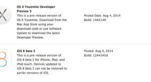 Megjelent az iOS beta 5 és az OS X Yosemite Developer Preview 5