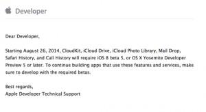 Leáll a CloudKit szolgáltatás a korábbi iOS 8 és OS X 10.10 bétáinál