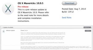 Mavericks 10.9.5 béta és iTunes 11.3.1 update érkezett