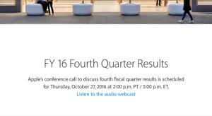 Október 27-én lesz az Apple 2016 Q4-es pénzügyi konferenciája