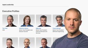 Jony Ive lekerült az Apple vezetőinek oldaláról